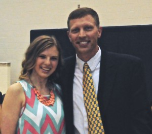 Mr. Sorensen with Oak Mountain High School's scholarship recipient, Kalie Danielczyk